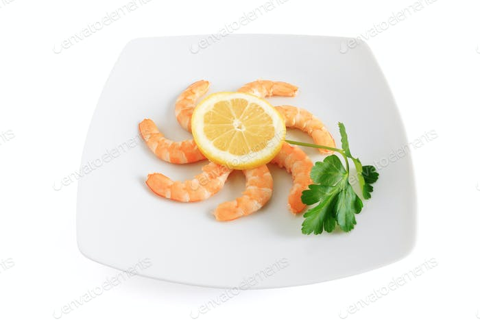 lemon and shrimps