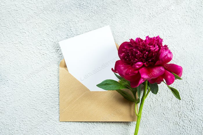 Burgundy peony and empty note card for text on concrete background. Top view, flat lay, copy space