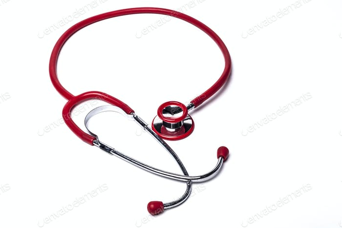Isolated Red Stethoscope