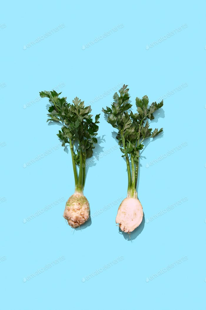 Two halves of parsley root with a bunch of greens on a blue background with space for text. Healthy
