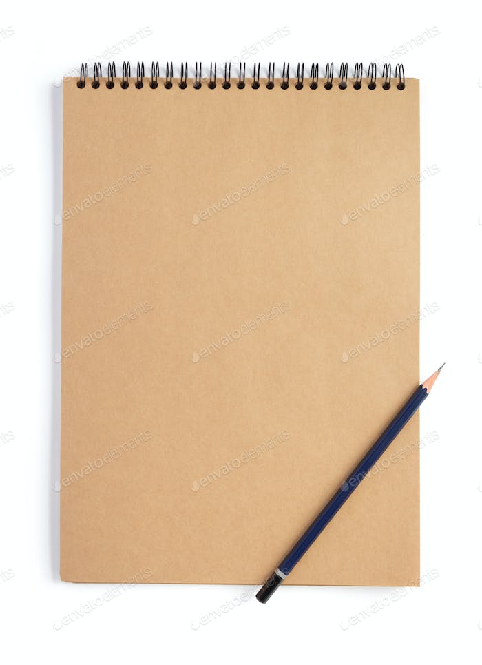 notebook with empty pages isolated at white