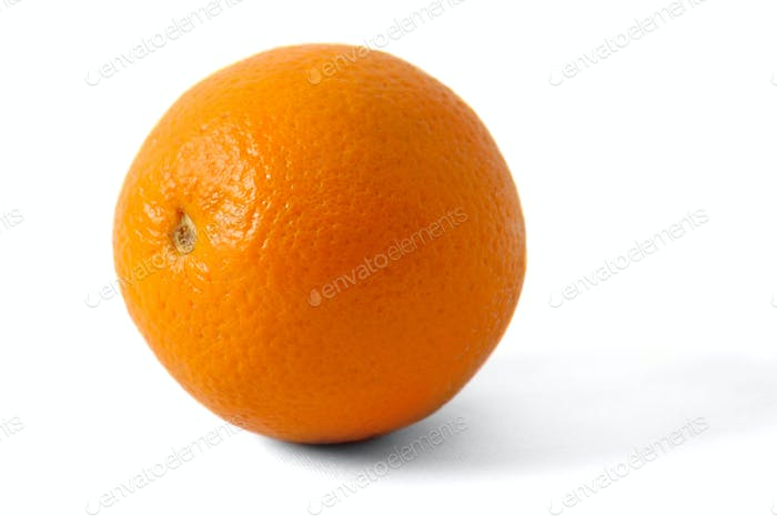 Big juicy orange on white background