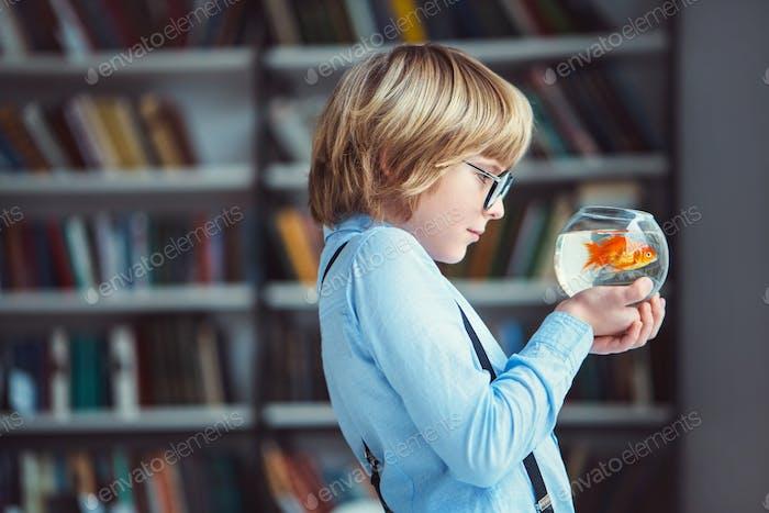 Boy with aquarium
