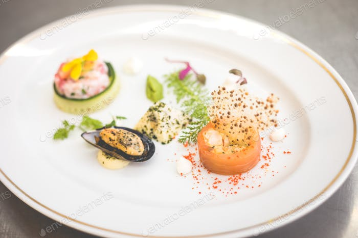 Seafood appetizers on plate