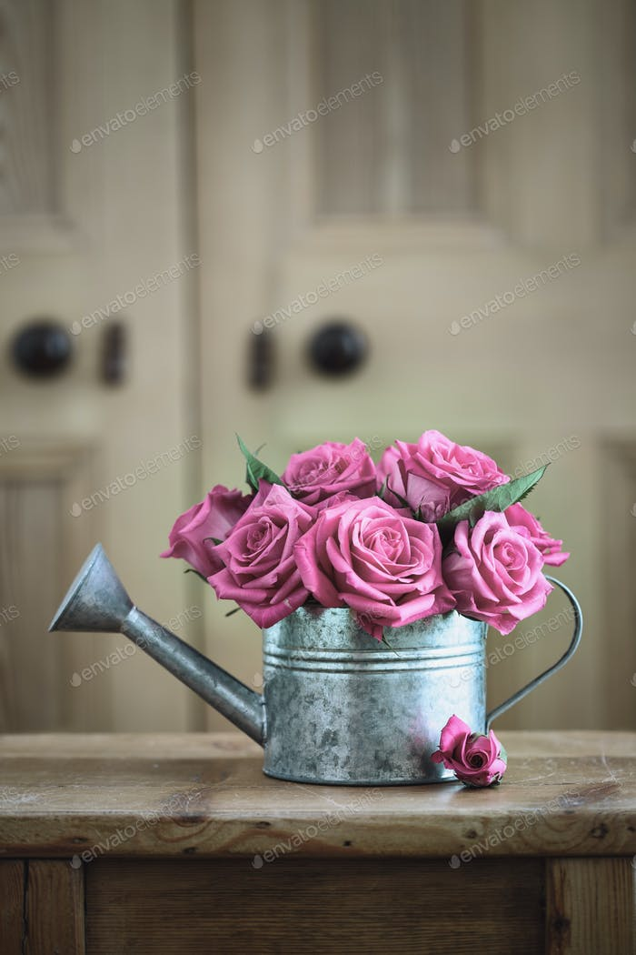 Vintage watering can with roses