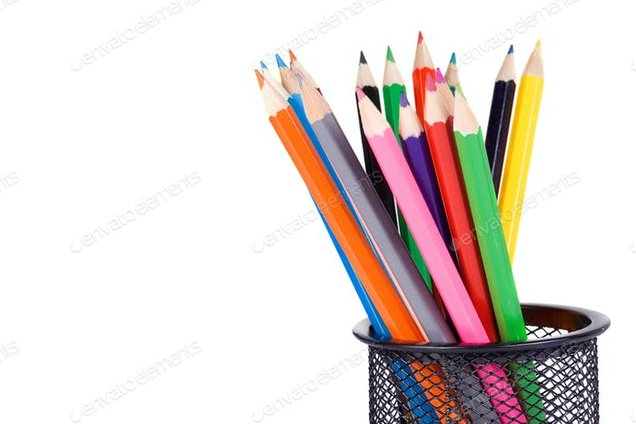 holder basket full of pencils
