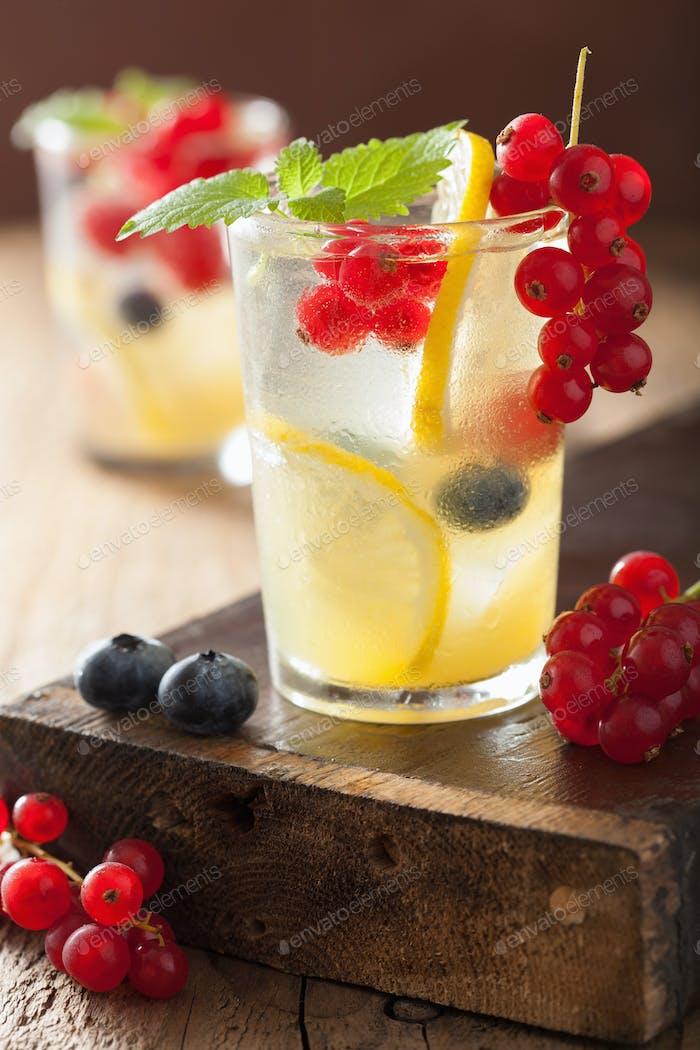 summer lemonade with berry and lemon