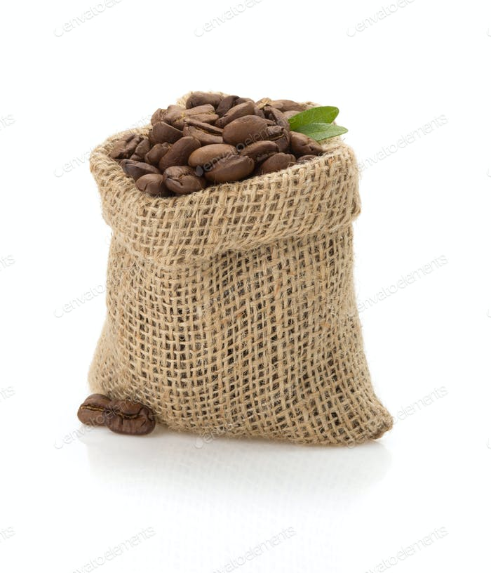 coffee beans in bag on white