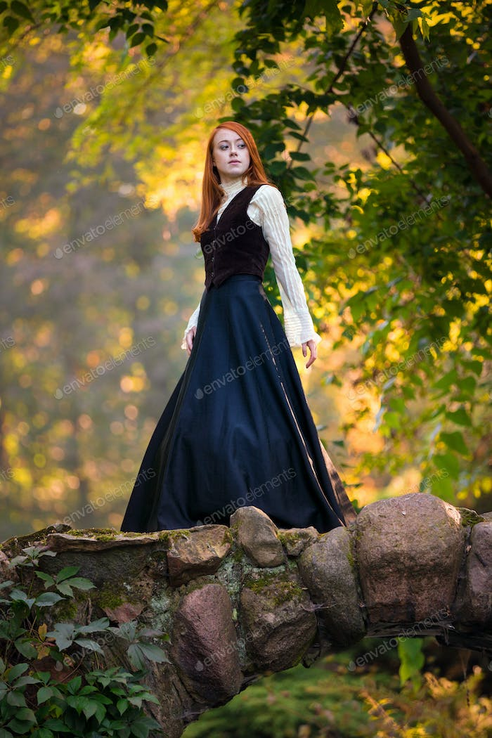 Red-haired Woman in Victorian Outfit