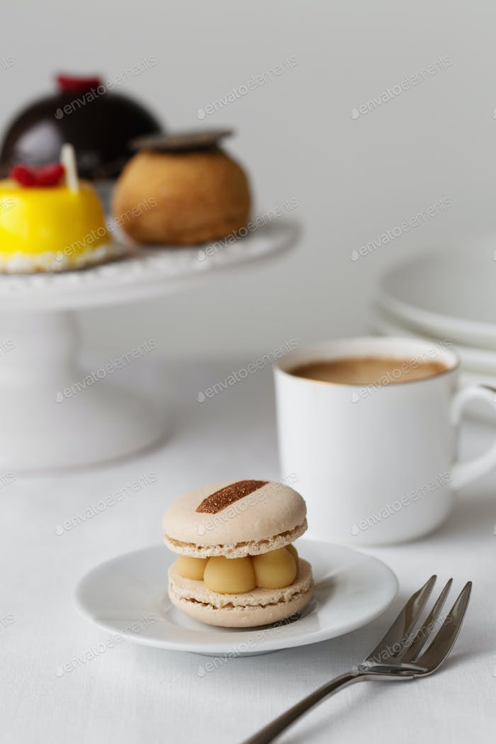 Elegant afternoon tea with macaron