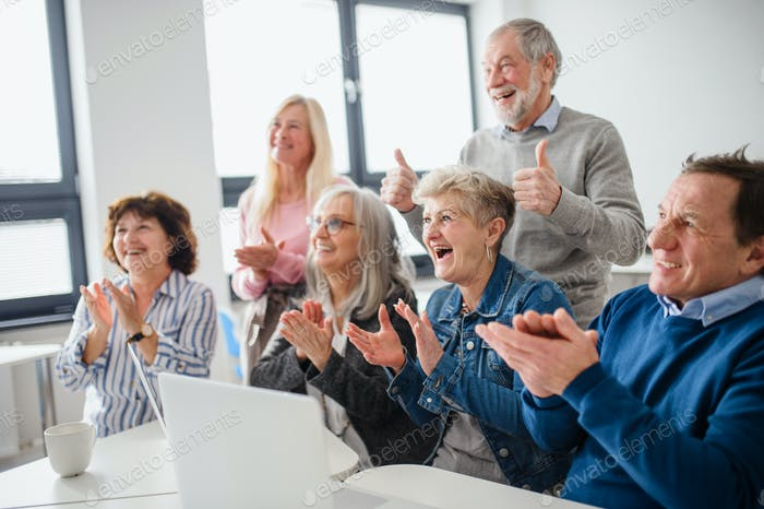 Group of cheerful seniors attending computer and technology education class