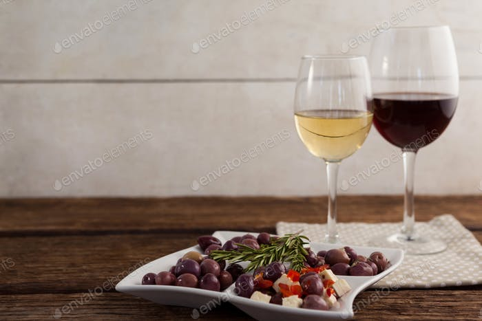 Olives served with wine