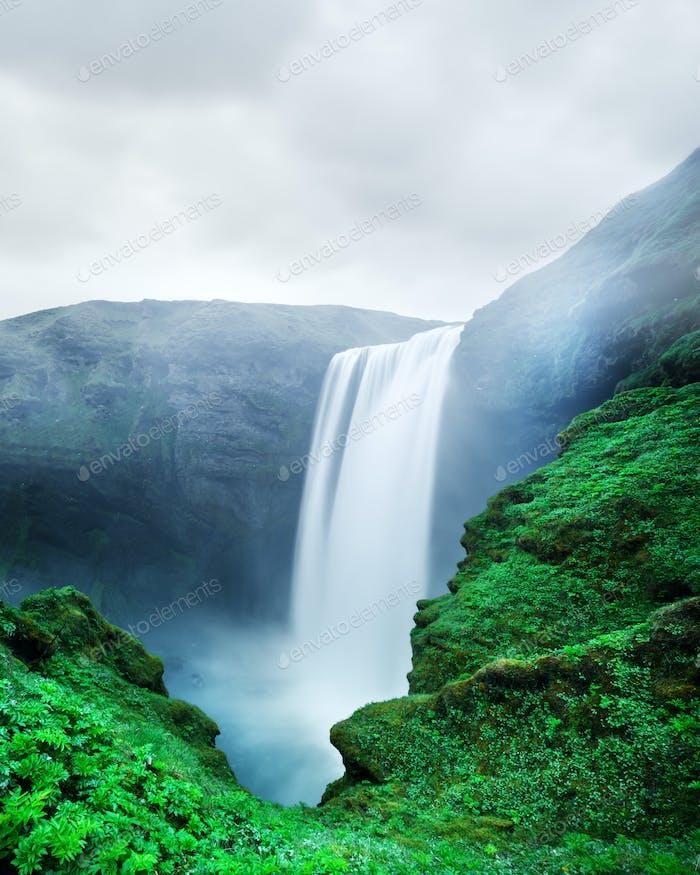 Famous Skogafoss waterfall