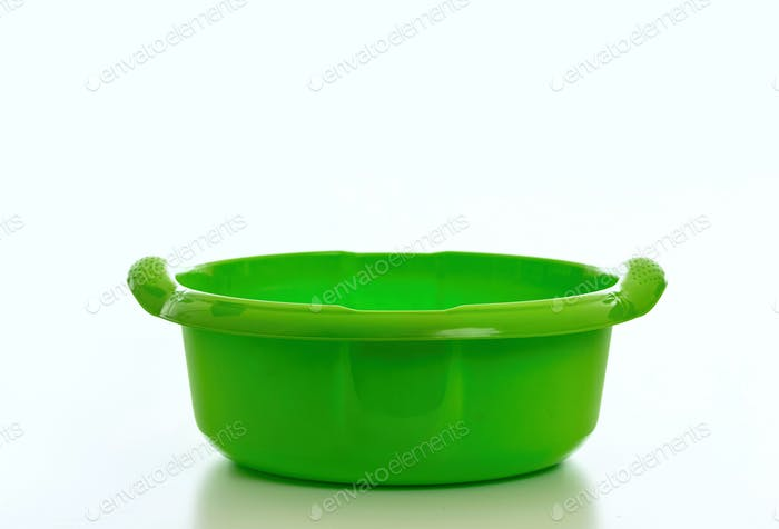 Cleaning washbowl green color isolated against white background,