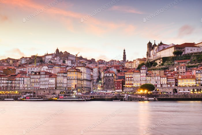 Porto And Douro River At Sunset