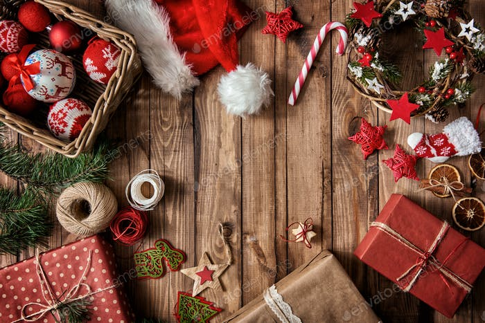 Baubles, presents, candy with christmas ornaments