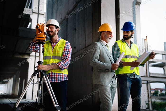 Thumbnail for Team of construction engineers, architects working on building site