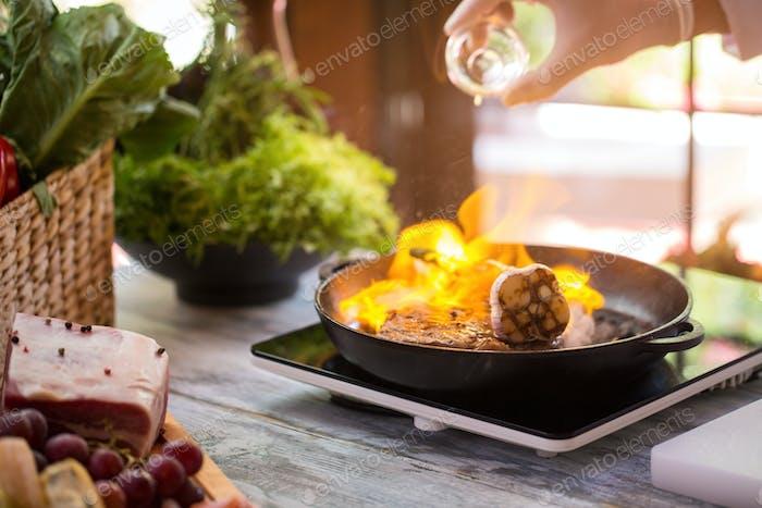 Flame in frying pan