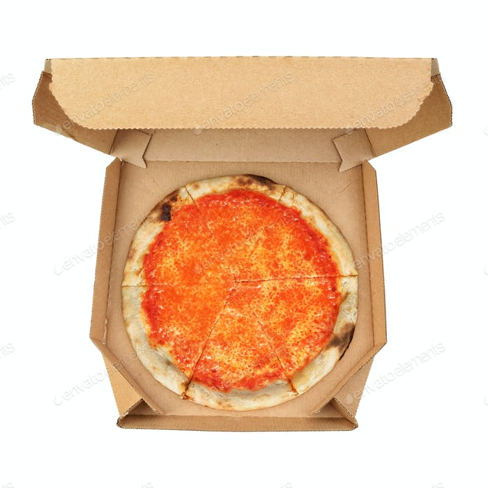 Pizza Margherita in take-out box isolated on white background.
