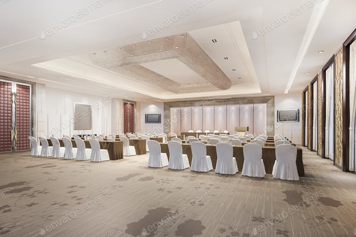 3d rendering seminar executive room in hotel