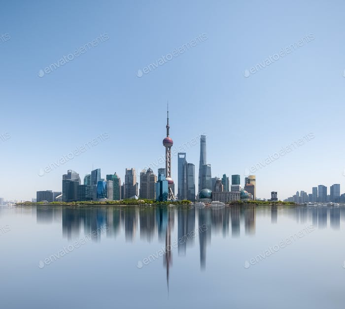 shanghai skyline reflected in the huangpu river, abstract metropolis cityscape