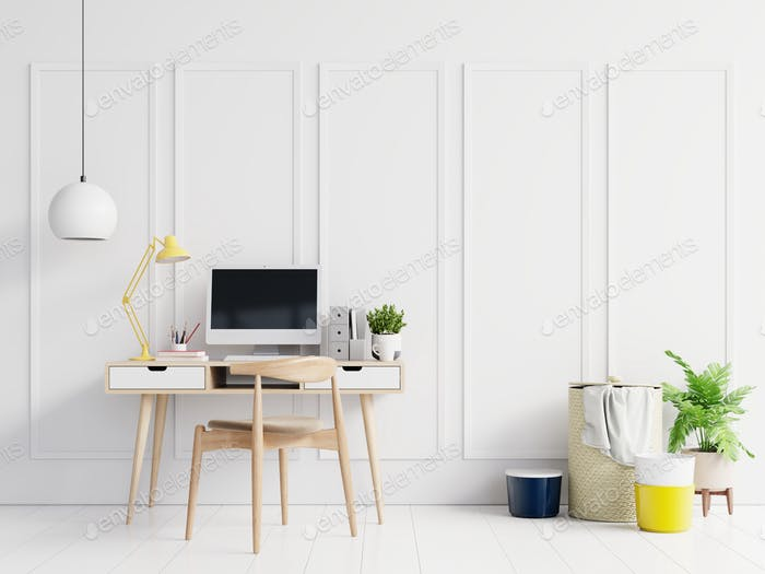 Office room with a white background.