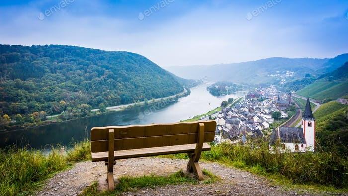 Landscape with the river Moselle in Germany. panorama of Moselle