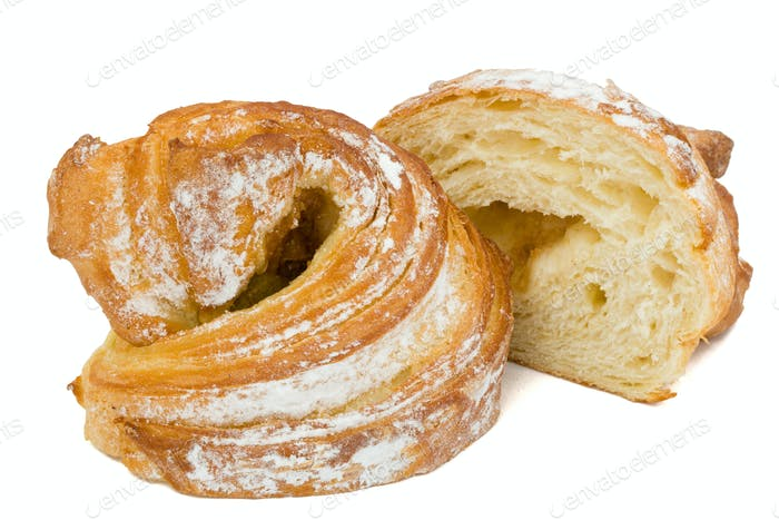 Fresh bun, isolated on white background