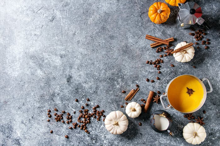 Ingredients for pumpkin latte