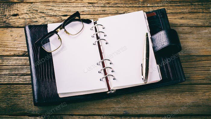 Notebook with pen.Business Concept