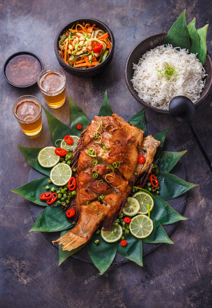 Crispy whole thai fried fish with ginger sauce