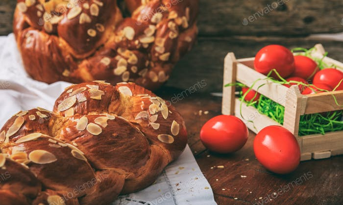 Easter bread and eggs on a table