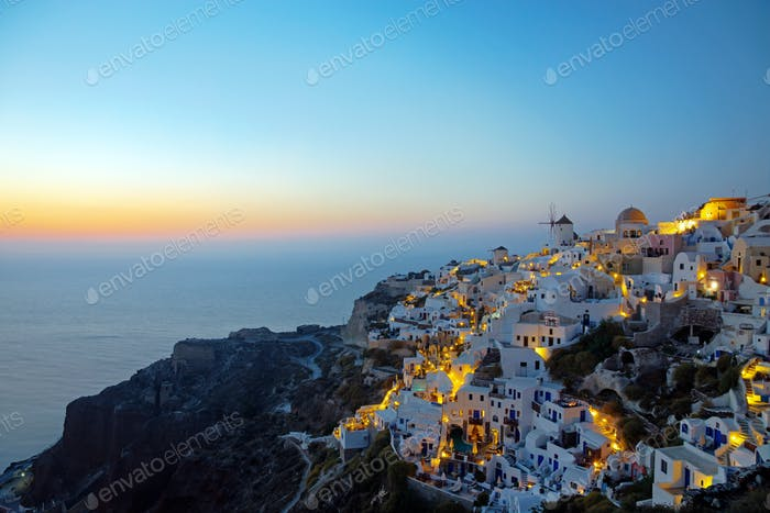 Oia village on santorini island at dawn