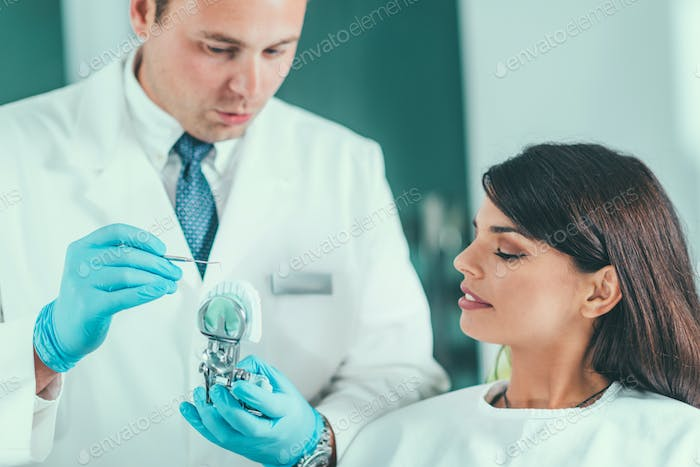 Dentist showing jaw model to patient