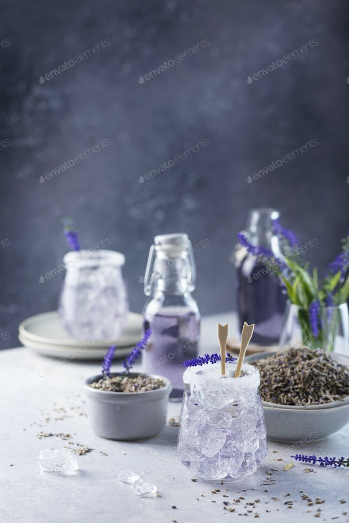 Summer cold drink with lavender