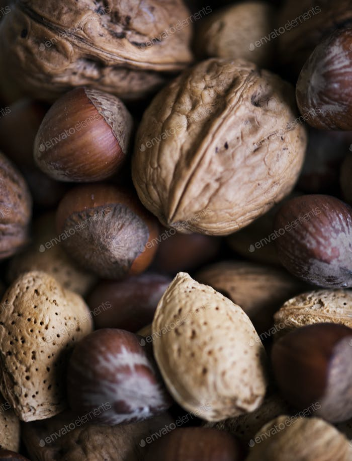 Variety of dried nuts food photography
