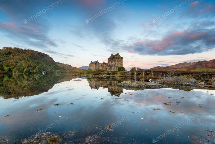 Sunrise at Eilean Donan a fairytale castle in Scotland