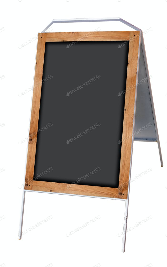 Empty menu board stand on white background