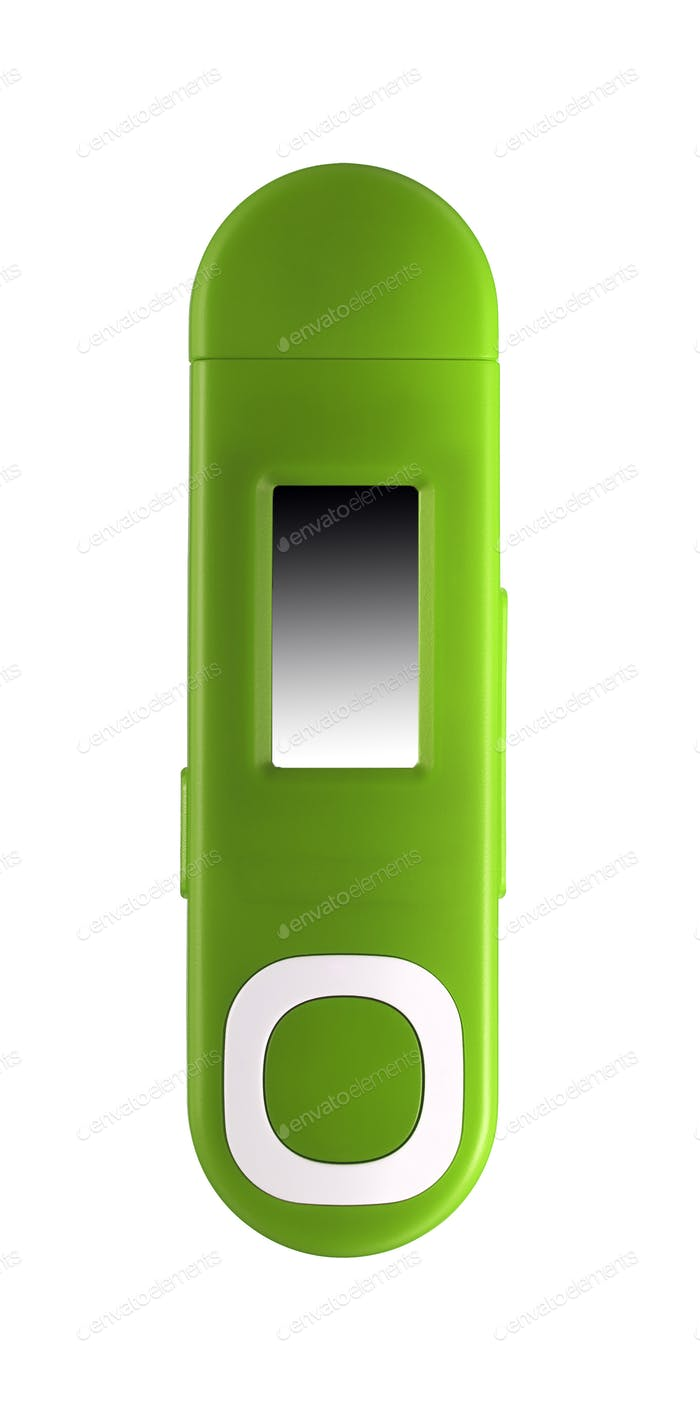 Small mp3 player isolated on white