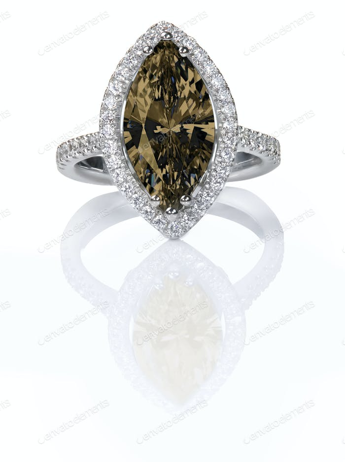 Beautiful Chocolate brown fancy Diamond Engagement ring. Gemstone Marquise cut
