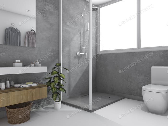 3d rendering loft concrete wall toilet and bathroom