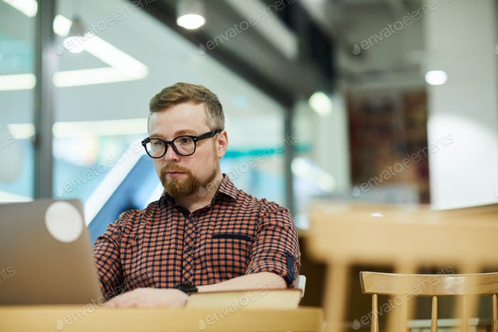Male freelancer working in cafe