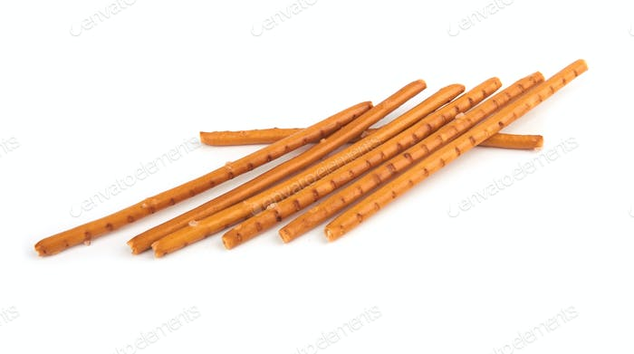 pretzel sticks on white