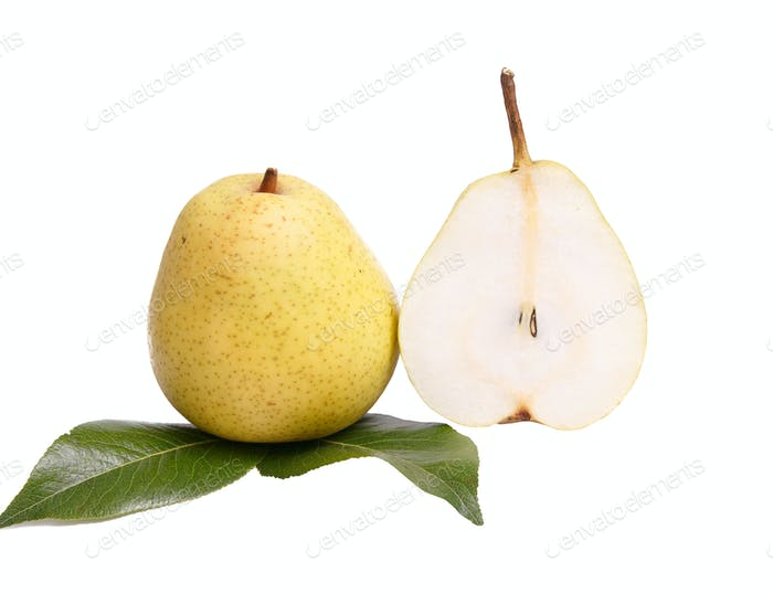 Ripe,tasty pears on a white.