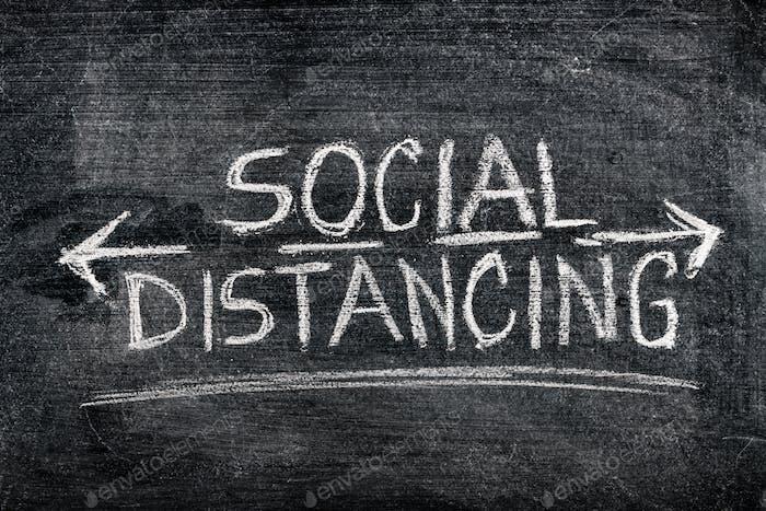 Soziale Distanzierung auf Tafel