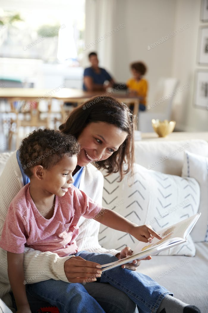 Close up of young mother sitting on a sofa in the living room reading a book with her toddler son