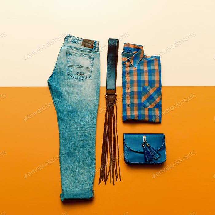 Country outfit. Fashionable accessories. fashion style