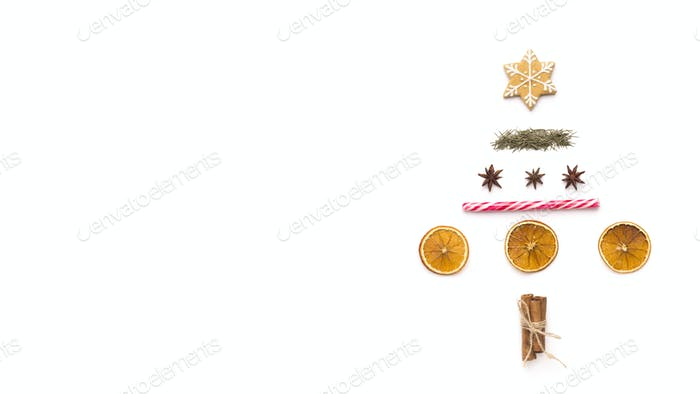 Christmas tree of traditional food on white