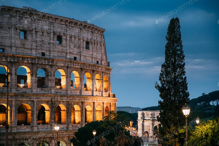 Rome, Italy. Colosseum Also Known As Flavian Amphitheatre In Eve