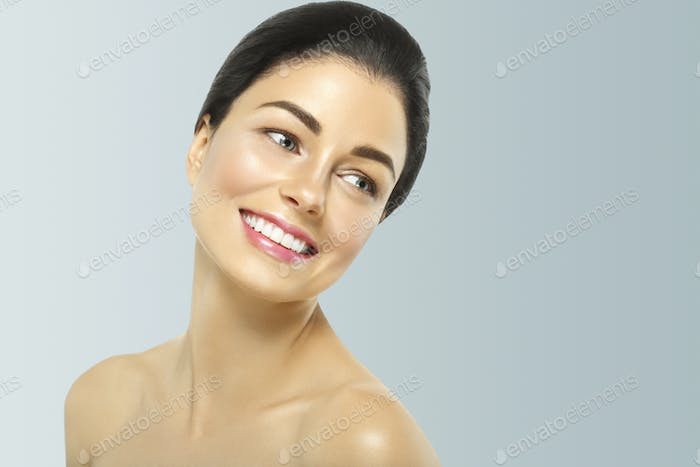 Woman cosmetic closeup beauty portrait, healthy care skin hair over gray color background